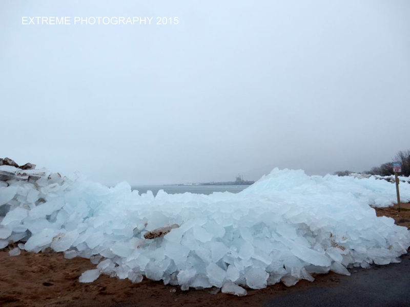 Ice on the shore of Lake Superior, Ashland, WI, April 8, 2015. Credit: C. Koval.