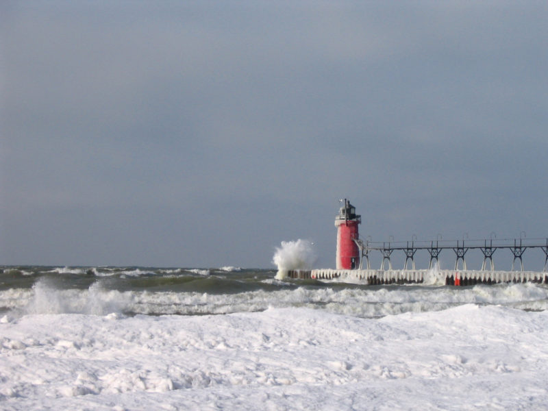 South Haven lighthouse. January 26, 2007, 11:37 a.m. Photo taken by S. Ruberg, GLERL.