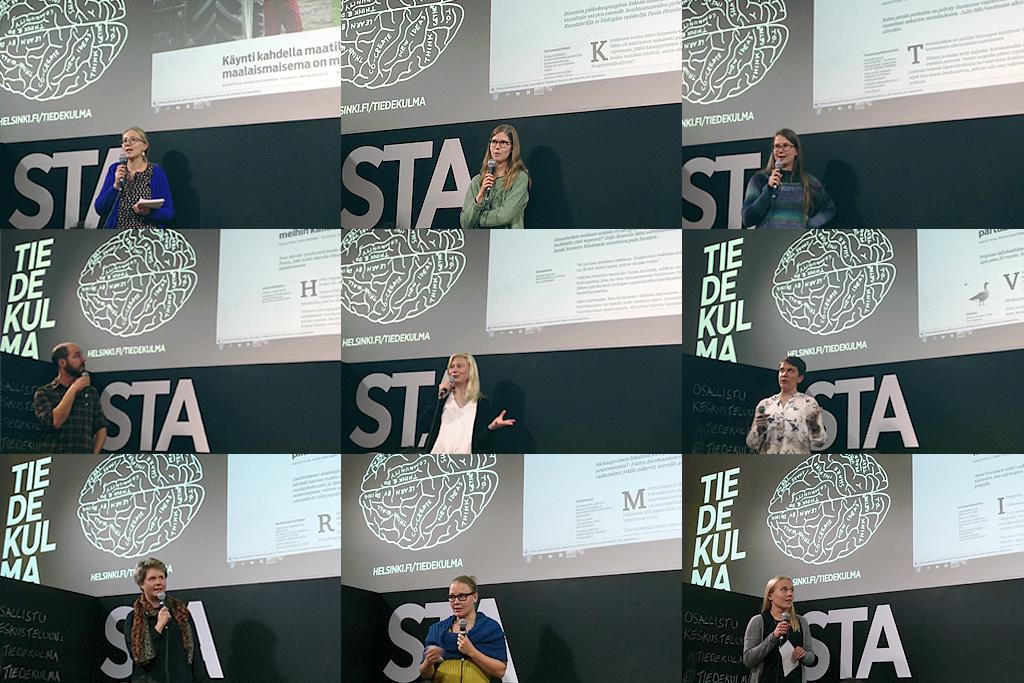 #muutos-lehden kirjoittajat nousivat lavalle Tiedekulmassa. Kuvat: Marika Eerola