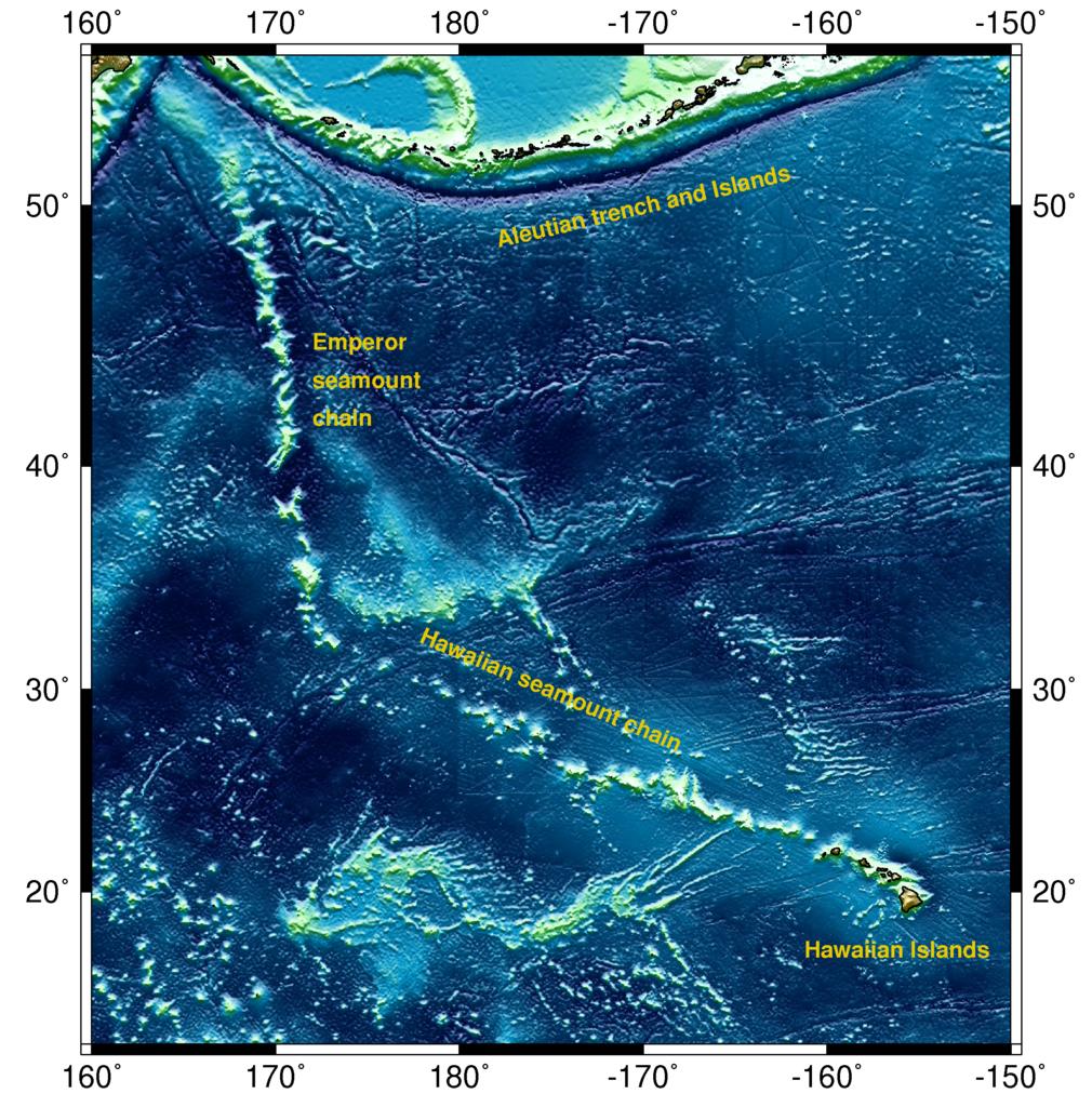 Kartta Tyynenmeren merenpohjasta